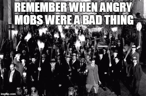 Angry Mob | REMEMBER WHEN ANGRY MOBS WERE A BAD THING | image tagged in angry mob | made w/ Imgflip meme maker