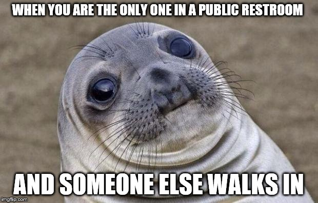 Am I the only one? Even if you completely ignore them? | WHEN YOU ARE THE ONLY ONE IN A PUBLIC RESTROOM AND SOMEONE ELSE WALKS IN | image tagged in memes,awkward moment sealion | made w/ Imgflip meme maker