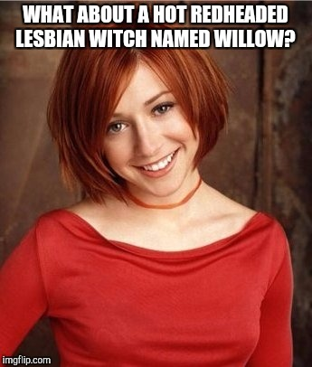 WHAT ABOUT A HOT REDHEADED LESBIAN WITCH NAMED WILLOW? | made w/ Imgflip meme maker