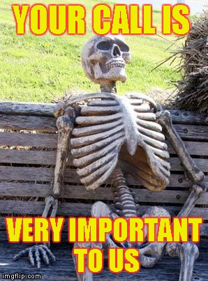 Waiting Skeleton Meme | YOUR CALL IS VERY IMPORTANT TO US | image tagged in memes,waiting skeleton | made w/ Imgflip meme maker