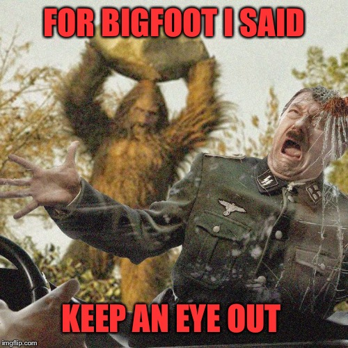 FOR BIGFOOT I SAID KEEP AN EYE OUT | made w/ Imgflip meme maker