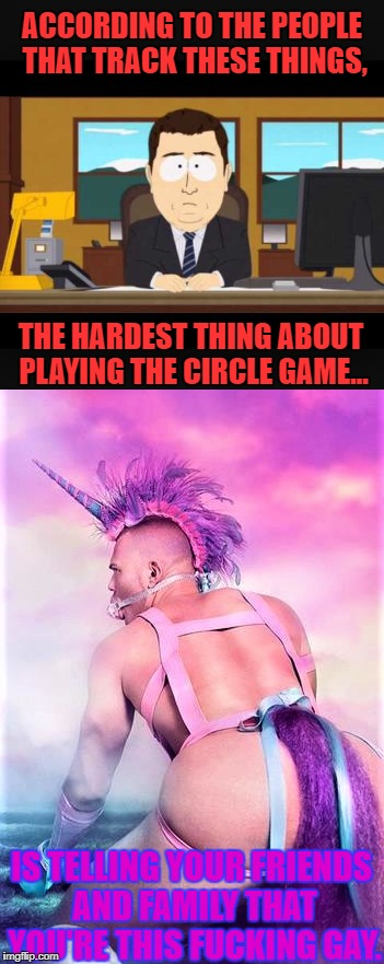 ACCORDING TO THE PEOPLE THAT TRACK THESE THINGS, THE HARDEST THING ABOUT PLAYING THE CIRCLE GAME... IS TELLING YOUR FRIENDS AND FAMILY THAT  | image tagged in gay,circle game,circle | made w/ Imgflip meme maker