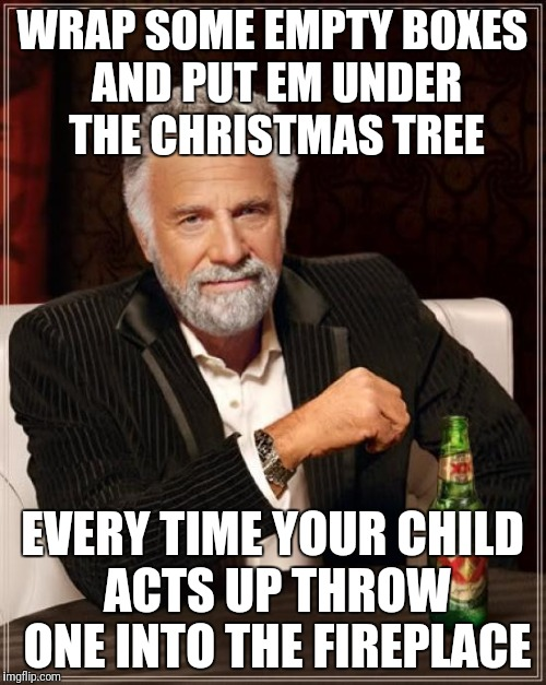 The Most Interesting Man In The World Meme | WRAP SOME EMPTY BOXES AND PUT EM UNDER THE CHRISTMAS TREE EVERY TIME YOUR CHILD ACTS UP THROW ONE INTO THE FIREPLACE | image tagged in memes,the most interesting man in the world | made w/ Imgflip meme maker