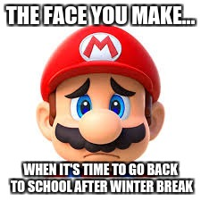 Sad Mario | THE FACE YOU MAKE... WHEN IT'S TIME TO GO BACK TO SCHOOL AFTER WINTER BREAK | image tagged in sad but true | made w/ Imgflip meme maker