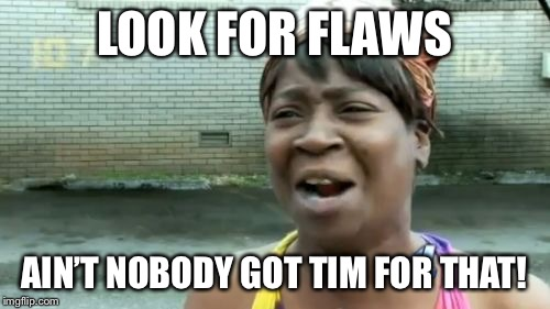 LOOK FOR FLAWS AIN'T NOBODY GOT TIM FOR THAT! | made w/ Imgflip meme maker