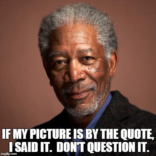 Morgan Freeman | IF MY PICTURE IS BY THE QUOTE, I SAID IT.  DON'T QUESTION IT. | image tagged in morgan freeman | made w/ Imgflip meme maker