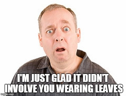 I'M JUST GLAD IT DIDN'T INVOLVE YOU WEARING LEAVES | made w/ Imgflip meme maker
