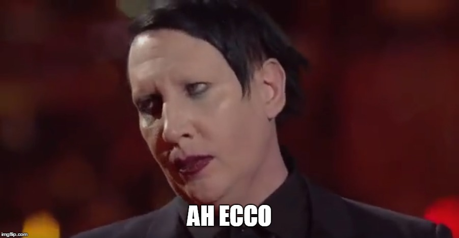 Marylin | AH ECCO | image tagged in marilyn manson,ok | made w/ Imgflip meme maker
