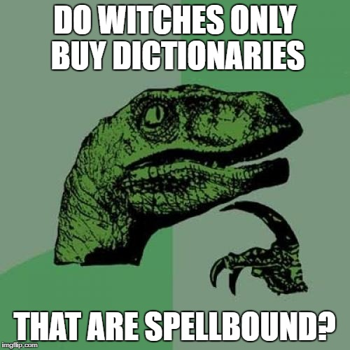 Philosoraptor Meme | DO WITCHES ONLY BUY DICTIONARIES THAT ARE SPELLBOUND? | image tagged in memes,philosoraptor | made w/ Imgflip meme maker