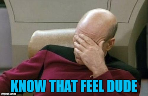Captain Picard Facepalm Meme | KNOW THAT FEEL DUDE | image tagged in memes,captain picard facepalm | made w/ Imgflip meme maker