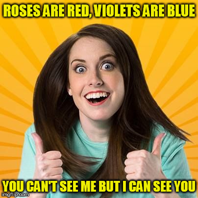 ROSES ARE RED, VIOLETS ARE BLUE YOU CAN'T SEE ME BUT I CAN SEE YOU | made w/ Imgflip meme maker