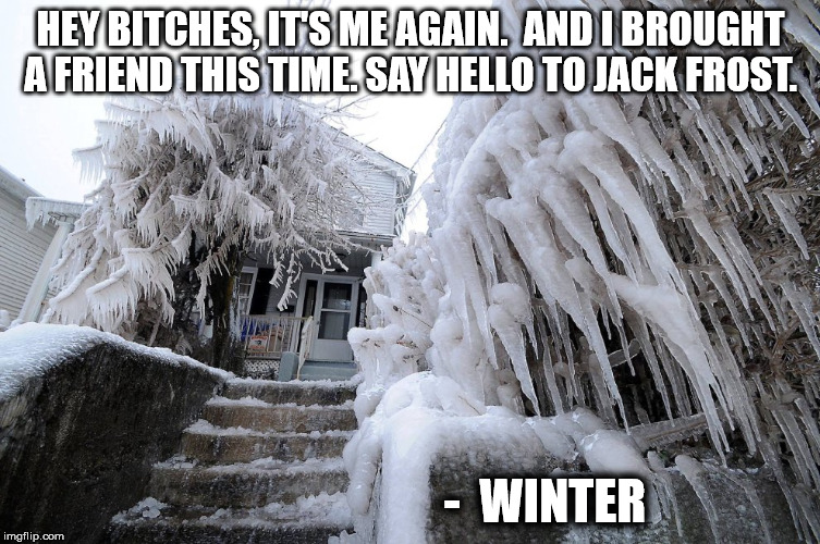 Winter Brought A Friend | HEY B**CHES, IT'S ME AGAIN.  AND I BROUGHT A FRIEND THIS TIME. SAY HELLO TO JACK FROST. -  WINTER | image tagged in winter | made w/ Imgflip meme maker