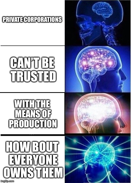 Expanding Brain Meme | PRIVATE CORPORATIONS CAN'T BE TRUSTED WITH THE MEANS OF PRODUCTION HOW BOUT EVERYONE OWNS THEM | image tagged in memes,expanding brain | made w/ Imgflip meme maker