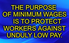 THE PURPOSE OF MINIMUM WAGES    IS TO PROTECT WORKERS AGAINST UNDULY LOW PAY. | image tagged in blue background | made w/ Imgflip meme maker