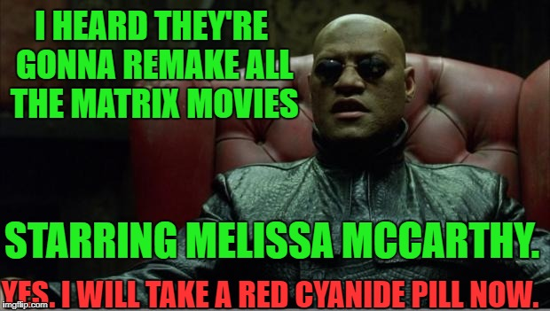 Hollywood Ruinous Remakes | I HEARD THEY'RE GONNA REMAKE ALL THE MATRIX MOVIES STARRING MELISSA MCCARTHY. YES. I WILL TAKE A RED CYANIDE PILL NOW. | image tagged in matrix1 | made w/ Imgflip meme maker