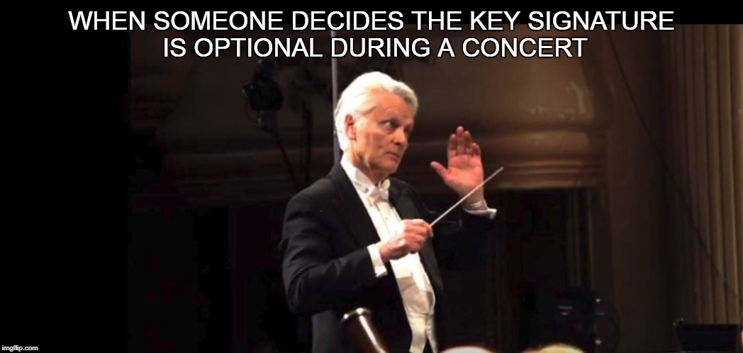 Conductor Reactions | WHEN SOMEONE DECIDES THE KEY SIGNATURE IS OPTIONAL DURING A CONCERT | image tagged in musician jokes | made w/ Imgflip meme maker