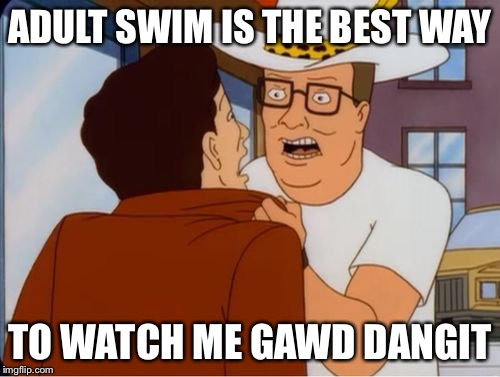 hank hill cocaine | ADULT SWIM IS THE BEST WAY TO WATCH ME GAWD DANGIT | image tagged in hank hill cocaine | made w/ Imgflip meme maker