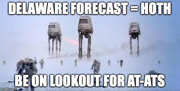 HOTH | DELAWARE FORECAST = HOTH BE ON LOOKOUT FOR AT-ATS | image tagged in hoth | made w/ Imgflip meme maker
