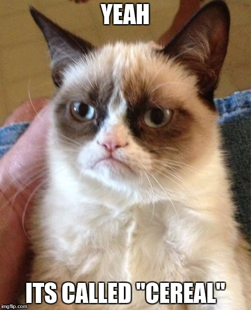 "Grumpy Cat Meme | YEAH ITS CALLED ""CEREAL"" 