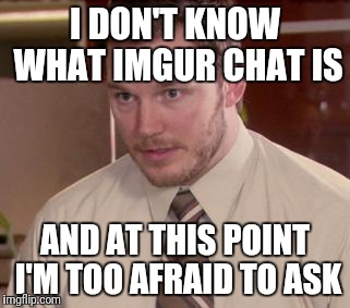Afraid To Ask Andy (Closeup) Meme | I DON'T KNOW WHAT IMGUR CHAT IS AND AT THIS POINT I'M TOO AFRAID TO ASK | image tagged in memes,afraid to ask andy closeup | made w/ Imgflip meme maker