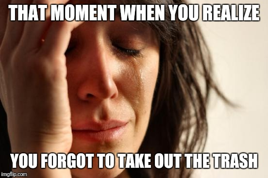 First World Problems Meme | THAT MOMENT WHEN YOU REALIZE YOU FORGOT TO TAKE OUT THE TRASH | image tagged in memes,first world problems | made w/ Imgflip meme maker