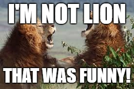 I'M NOT LION THAT WAS FUNNY! | made w/ Imgflip meme maker