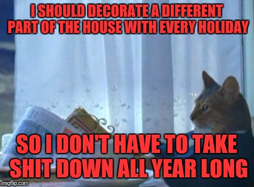 I Should Buy A Boat Cat Meme | I SHOULD DECORATE A DIFFERENT PART OF THE HOUSE WITH EVERY HOLIDAY SO I DON'T HAVE TO TAKE SHIT DOWN ALL YEAR LONG | image tagged in memes,i should buy a boat cat | made w/ Imgflip meme maker