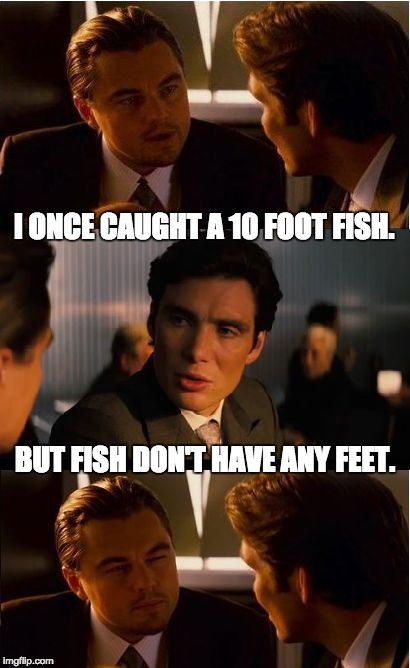 Inception Meme | I ONCE CAUGHT A 10 FOOT FISH. BUT FISH DON'T HAVE ANY FEET. | image tagged in memes,inception | made w/ Imgflip meme maker