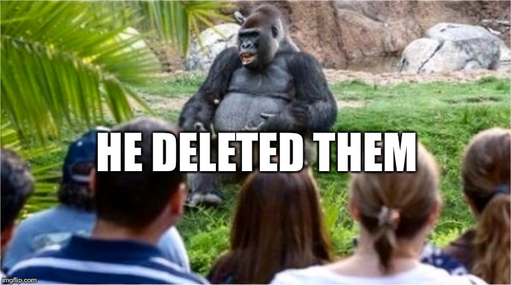 Gorilla Glue | HE DELETED THEM | image tagged in gorilla glue | made w/ Imgflip meme maker