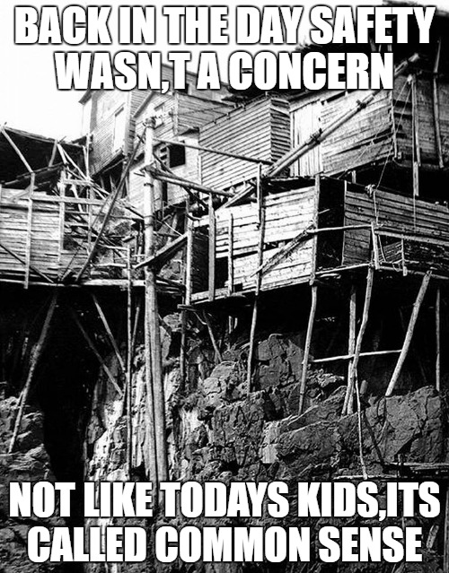 back in the old days | BACK IN THE DAY SAFETY WASN,T A CONCERN NOT LIKE TODAYS KIDS,ITS CALLED COMMON SENSE | image tagged in back,newfoundland,common sense,wow | made w/ Imgflip meme maker