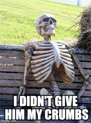 Waiting Skeleton Meme | I DIDN'T GIVE HIM MY CRUMBS | image tagged in memes,waiting skeleton | made w/ Imgflip meme maker
