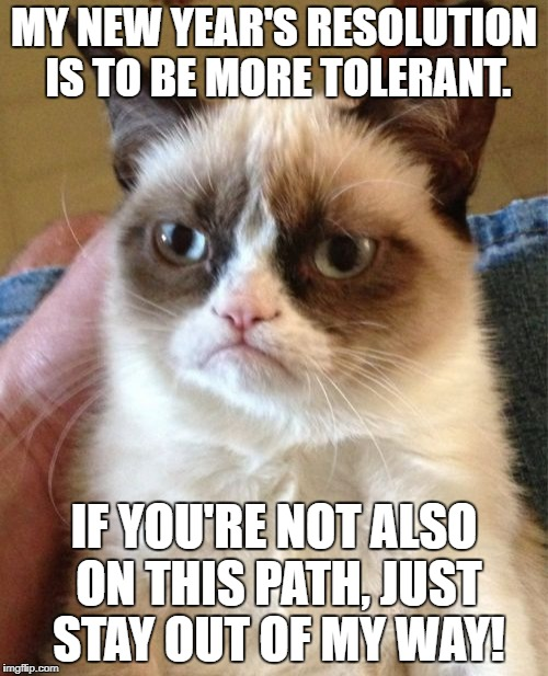 Grumpy Cat Meme | MY NEW YEAR'S RESOLUTION IS TO BE MORE TOLERANT. IF YOU'RE NOT ALSO ON THIS PATH, JUST STAY OUT OF MY WAY! | image tagged in memes,grumpy cat | made w/ Imgflip meme maker