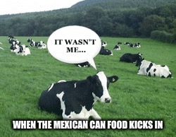 WHEN THE MEXICAN CAN FOOD KICKS IN | image tagged in memes,funny,cow,cows,more cowbell,cowbell | made w/ Imgflip meme maker