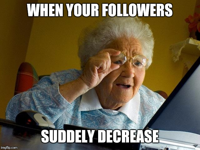 Grandma Finds The Internet Meme | WHEN YOUR FOLLOWERS SUDDELY DECREASE | image tagged in memes,grandma finds the internet | made w/ Imgflip meme maker