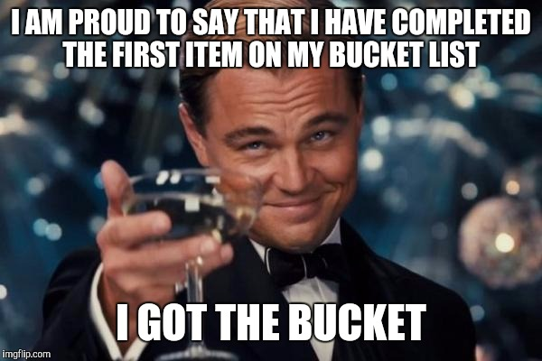 Leonardo Dicaprio Cheers Meme | I AM PROUD TO SAY THAT I HAVE COMPLETED THE FIRST ITEM ON MY BUCKET LIST I GOT THE BUCKET | image tagged in memes,leonardo dicaprio cheers | made w/ Imgflip meme maker