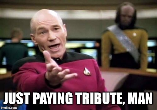 Picard Wtf Meme | JUST PAYING TRIBUTE, MAN | image tagged in memes,picard wtf | made w/ Imgflip meme maker