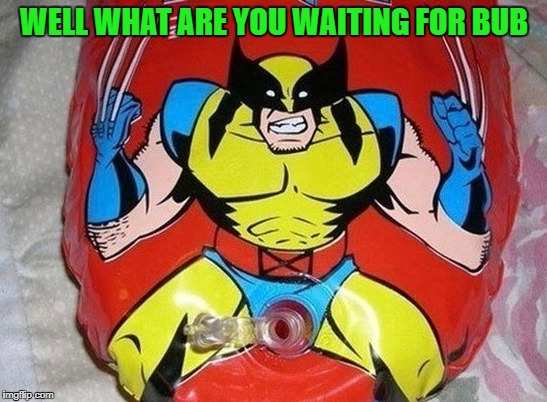 It's not gonna blow itself up... | WELL WHAT ARE YOU WAITING FOR BUB | image tagged in wolverine balloon,memes,wolverine,funny,balloons,marvel | made w/ Imgflip meme maker