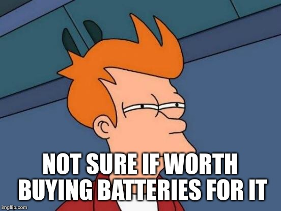 Futurama Fry Meme | NOT SURE IF WORTH BUYING BATTERIES FOR IT | image tagged in memes,futurama fry | made w/ Imgflip meme maker