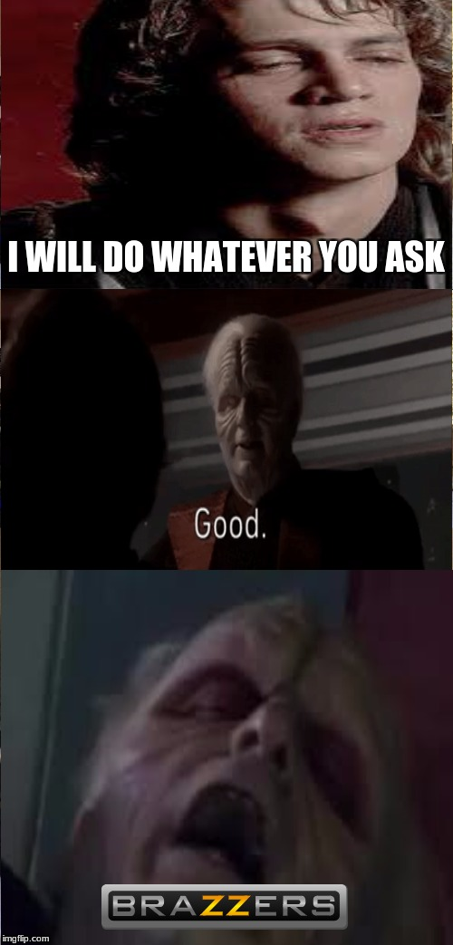 ANAKIN! CHANCELLOR PALPATINE IS EVIL! | I WILL DO WHATEVER YOU ASK | image tagged in memes,star wars,anakin skywalker,brazzers | made w/ Imgflip meme maker