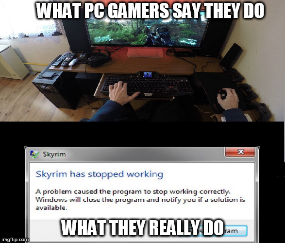 Pc Gamers say | WHAT PC GAMERS SAY THEY DO WHAT THEY REALLY DO | image tagged in pc gaming,pc master race,video games | made w/ Imgflip meme maker