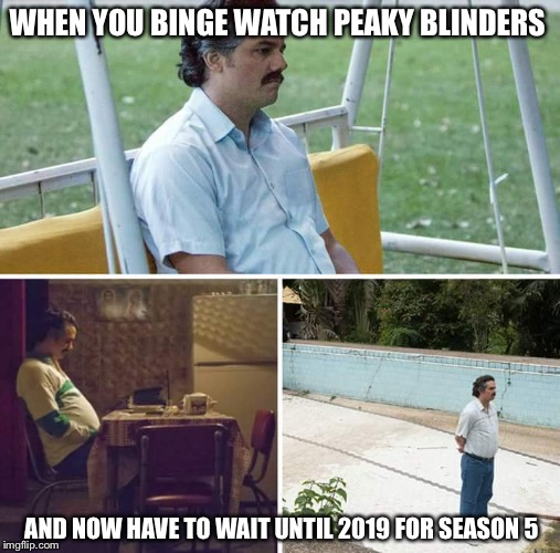 sad pablo escobar | WHEN YOU BINGE WATCH PEAKY BLINDERS AND NOW HAVE TO WAIT UNTIL 2019 FOR SEASON 5 | image tagged in sad pablo escobar | made w/ Imgflip meme maker
