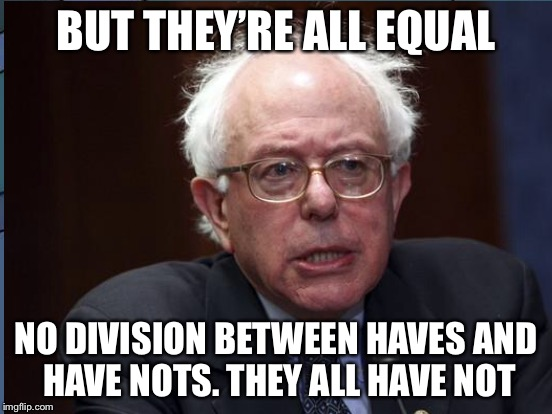 BUT THEY'RE ALL EQUAL NO DIVISION BETWEEN HAVES AND HAVE NOTS. THEY ALL HAVE NOT | made w/ Imgflip meme maker