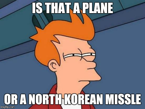Futurama Fry Meme | IS THAT A PLANE OR A NORTH KOREAN MISSLE | image tagged in memes,futurama fry | made w/ Imgflip meme maker