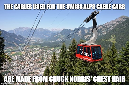Chuck Norris Swiss Alps Cable Cars | THE CABLES USED FOR THE SWISS ALPS CABLE CARS ARE MADE FROM CHUCK NORRIS' CHEST HAIR | image tagged in memes,chuck norris,swiss alps,cables | made w/ Imgflip meme maker