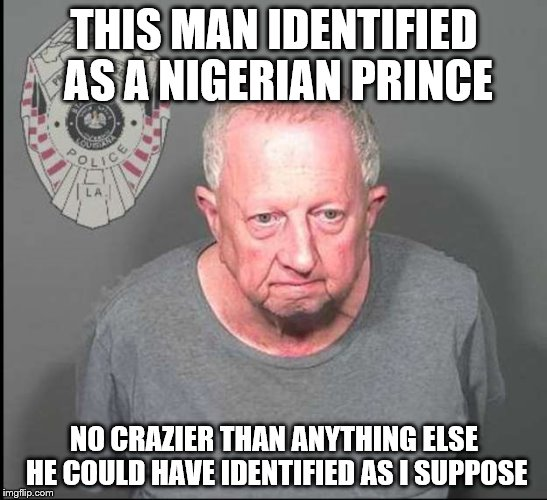And ladies...he's single! | THIS MAN IDENTIFIED AS A NIGERIAN PRINCE NO CRAZIER THAN ANYTHING ELSE HE COULD HAVE IDENTIFIED AS I SUPPOSE | image tagged in nigerian prince,identity,louisiana,arrested | made w/ Imgflip meme maker