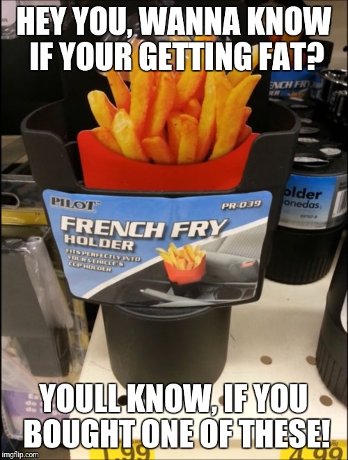 Living the Fat life. | HEY YOU, WANNA KNOW IF YOUR GETTING FAT? YOULL KNOW, IF YOU BOUGHT ONE OF THESE! | image tagged in french fry holder,memes,funny,dumb,food,why | made w/ Imgflip meme maker