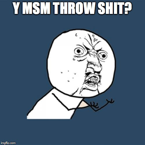 Y U No Meme | Y MSM THROW SHIT? | image tagged in memes,y u no | made w/ Imgflip meme maker