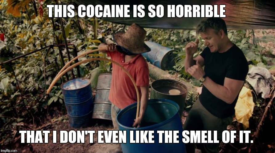He was so much more relaxed in the jungle...  | THIS COCAINE IS SO HORRIBLE THAT I DON'T EVEN LIKE THE SMELL OF IT. | image tagged in gordon ramsey cocaine | made w/ Imgflip meme maker