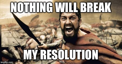 Sparta Leonidas Meme | NOTHING WILL BREAK MY RESOLUTION | image tagged in memes,sparta leonidas | made w/ Imgflip meme maker