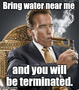 Bring water near me and you will be terminated. | made w/ Imgflip meme maker